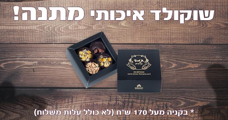 משלוחי פרחים - פרחים תמר שוקולד מתנה