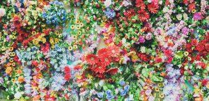 רקע עם הרבה פרחים צבעוניים