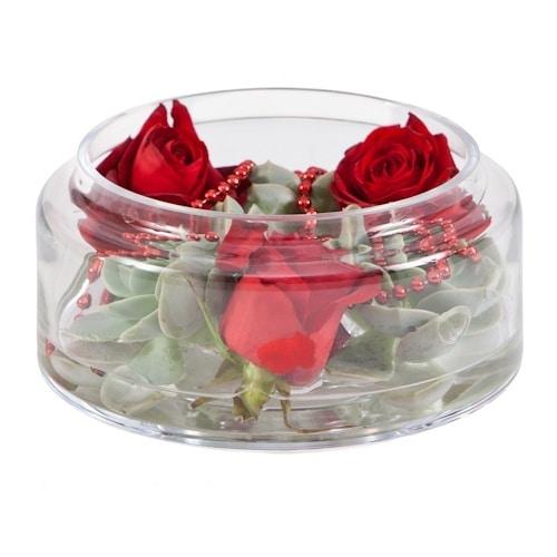 סידור פרחים מעוצב באגרטל עגול