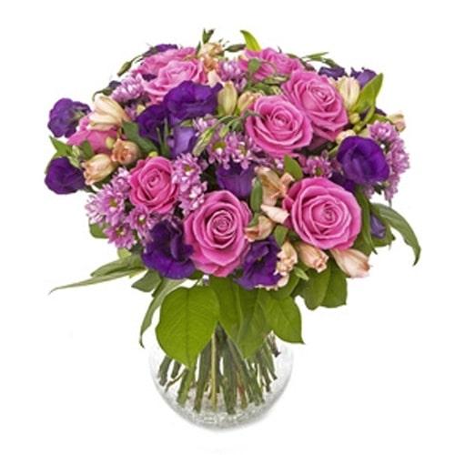 זר פרחים למשלוח בצבע ורוד וסגול