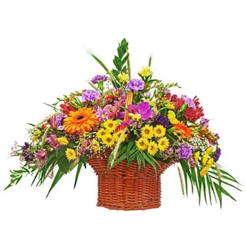 משלוח סידור פרחים צבעוני בסלסלה