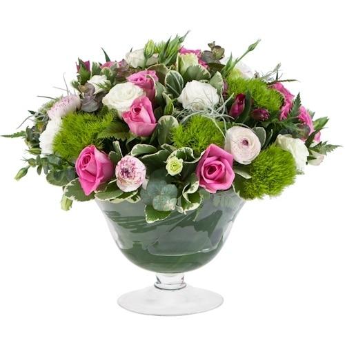 סידור פרחים באגרטל נמוך ועגול