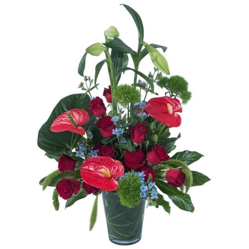 סידור פרחים פנטזיה אדומה