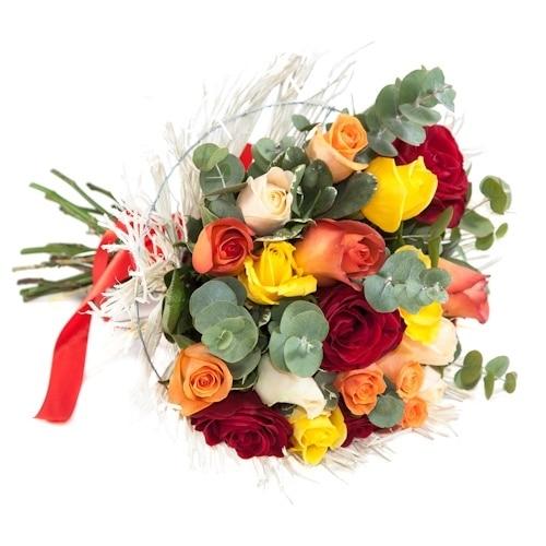 זר ורדים צבעוני